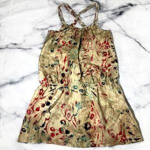 Guess Tan Cross Back Floral Splatter Tunic Dress